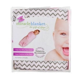 Moonlight Baby Sleep Consultant Melbourne - Miracle Blanket pink chevron swaddle - swaddling to contain startle reflex
