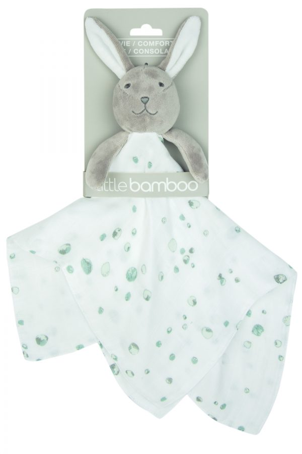 little bamboo blair bunny comforter for sleep. Moonlight baby sleep. melbourne. grey bunny with super soft swaddle in white and mint specs. super soft material