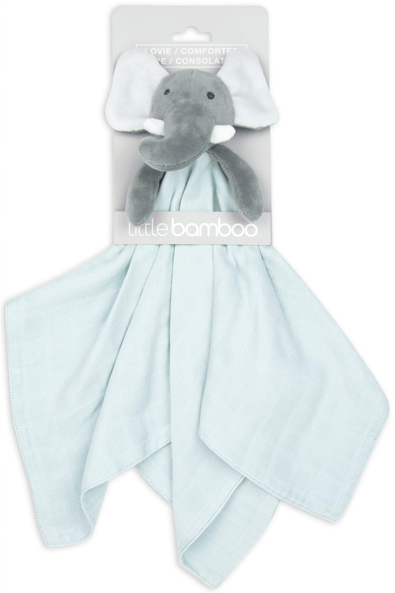 Little bamboo comforter toy for sleep. Grey elephant with bamboo muslin bottom. moonlight baby sleep melbourne