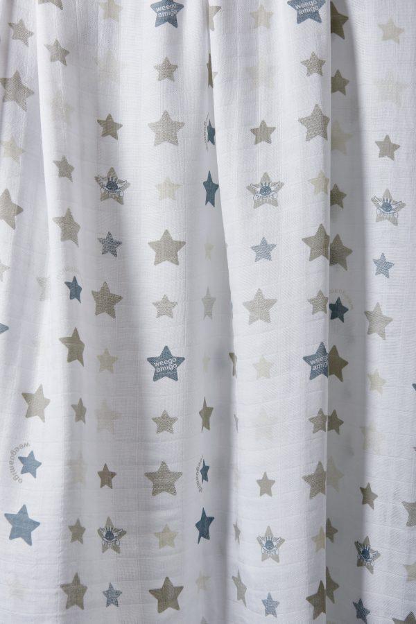 Weegoamigo Bamboo Muslin. Super soft cotton . Swaddling swaddle. Blue and grey stars on white background. Moonlight Baby Sleep. Melbourne.