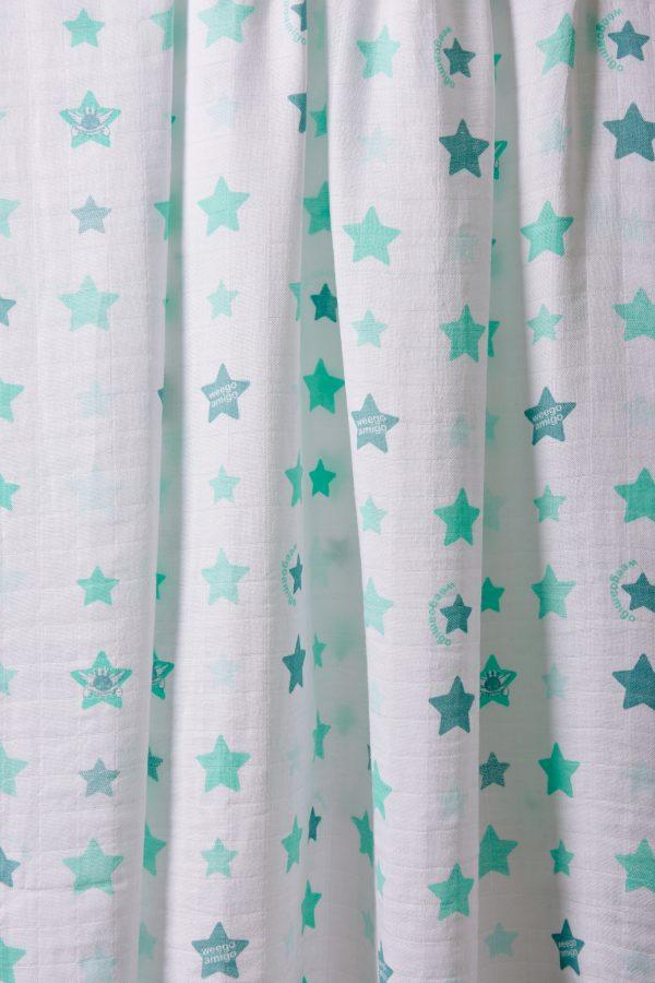 Weegoamigo Bamboo Muslin. Super soft cotton . Swaddling swaddle. Mint stars on white background. Moonlight Baby Sleep. Melbourne.