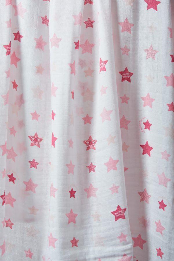 Weegoamigo Bamboo Muslin. Super soft cotton . Swaddling swaddle. Pink stars on white background. Moonlight Baby Sleep. Melbourne.