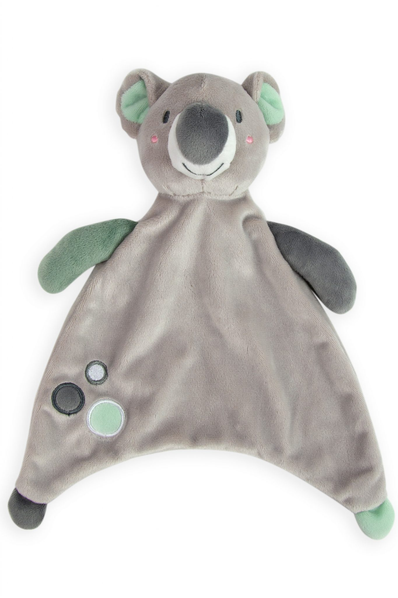 Comforter lovie toy in grey and mint koala. Sleeping aid for babies and toddlers. super soft. great gifts. moonlight baby sleep. melbourne