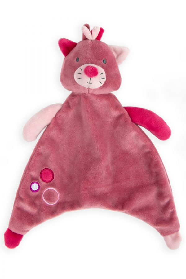 Comforter lovie toy in pink kitten. Sleeping aid for babies and toddlers. super soft. great gifts. moonlight baby sleep. melbourne