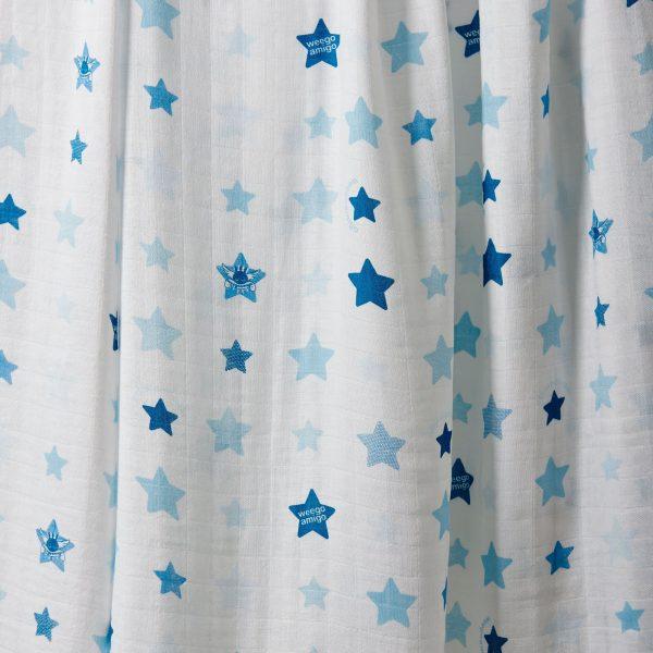 weegoamigo muslin swaddle white with light blue and dark blue. moonlight baby sleep melbourne