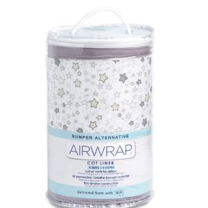 Airwrap Cot Liner - Starry Night Grey Moonlight Baby Sleep Aids