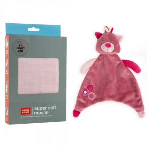 WeegoAmigo Sleep bundle moonlight baby - pink muslin and kitten comforter
